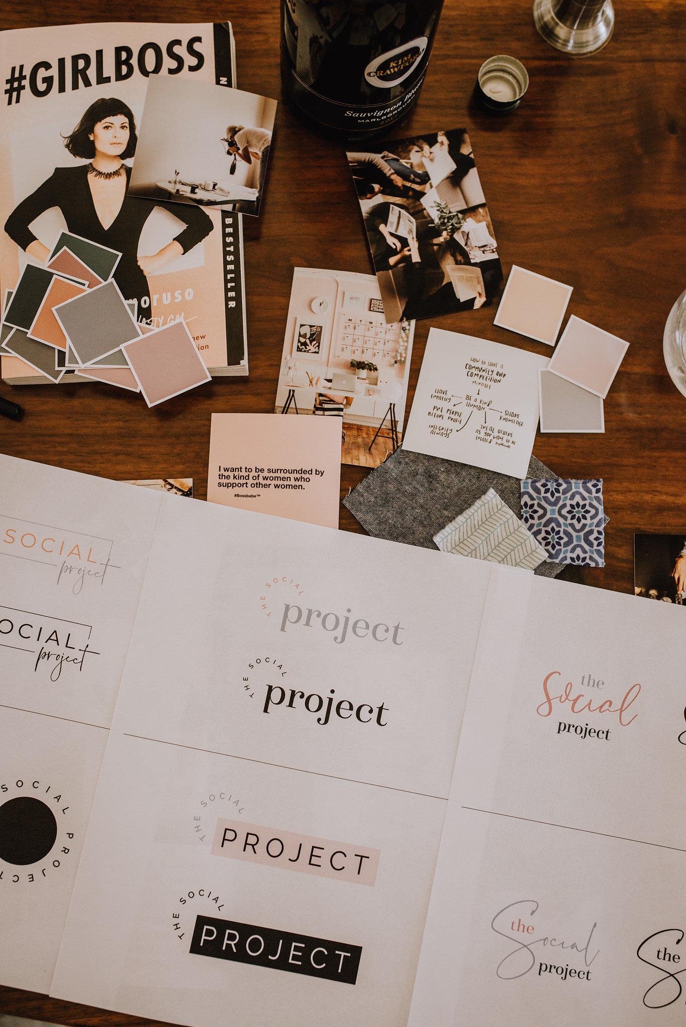The Social Project, Barrie Social Project, Barrie Social, Branding, Social Media, Creative, Creative Collaboration, Girl Boss, Barrie Boss Babes, Entrepreneurs, Graphic Design, Mood Board, Branding Process